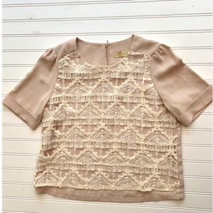 $250 BONSUI Vintage Inspired Short Sleeve Blouse